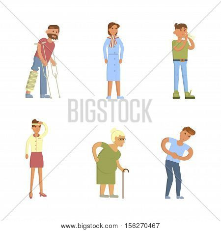 Sick people characters set with men and women. Allergy, broken leg, stomach pains, coughing, blowing, sneezing isolated vector illustration