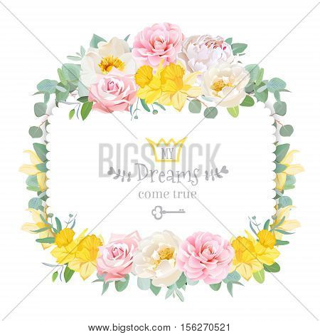 Cute floral square vector design frame with wild rose narcissus camellia peony green eucaliptus. Pink white and yellow flowers. Invitation card. All elements are isolated and editable.