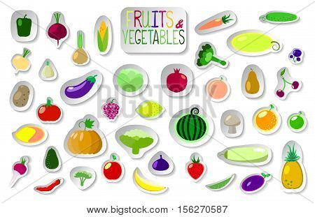 Big set of fruits and vegetables in flat style with shadow. Summer or vegetarian food. Collection of vegetables and fruit patches icons stickers for product package design or labels.