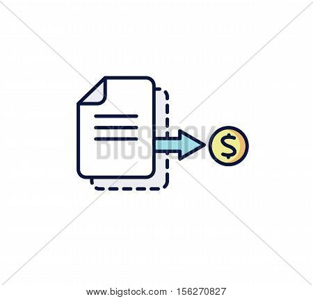 Business icon. The document with the coin: invoice receipt payment Vector illustration