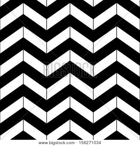 Abstract black and white geometric chevron seamless pattern, vector background