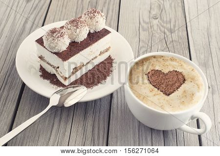 Coffee and cake as a morning meal. Tasty food background