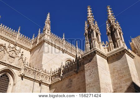 Detail of Granada Cathedral (Cathedral of the Incarnation) in gothic and spanish renaissance style