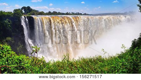 Victoria Falls at full flow rate in Zimbabwe in Africa