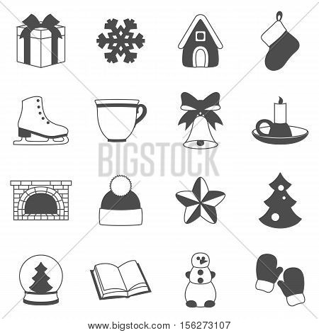 Stock vector set of winter and Christmas accessories