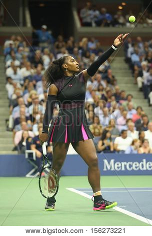 NEW YORK - AUGUST 30, 2016: Grand Slam champion Serena Williams in action during her semifinal match at US Open 2016 at Billie Jean King National Tennis Center in New York