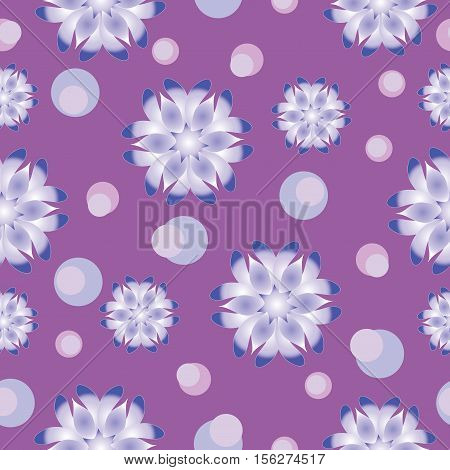 Abstract flowers on light purple background. Seamless pattern. The cold color palette. Design for textiles, tableware, wrapping paper, covers, and cases.
