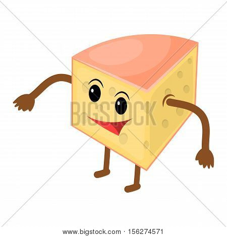 Happy cartoon cheese man. Vector illustration eps 10
