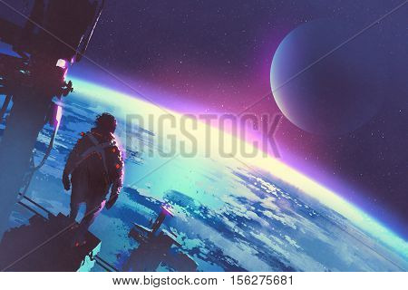 sci-fi concept of the man looking at a surface of the earth from a space, illustration painting