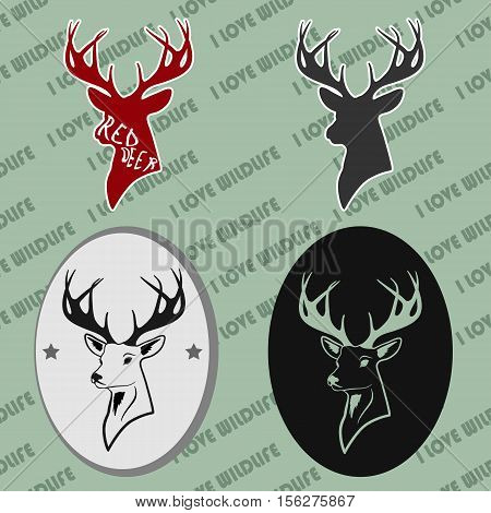 deer head with antlers. a set of four pieces. pattern and silhouette. For all who love wildlife.
