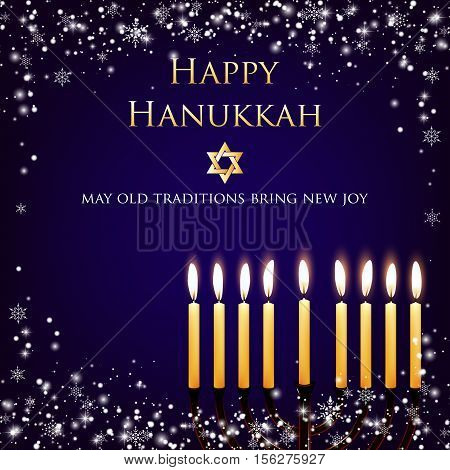 Vector Hanukkah background with menorah and david star. Shining stars and snowballs on the back. Happy Hanukkah background. Elegant greeting card