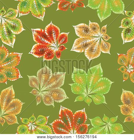 A chestnut leaf on a green background. Seamless Pattern. Composition on bright background in warm tones. Design for textiles, tapestries, glassware, covers, packaging.