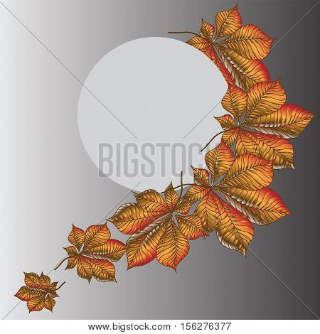 Autumn melancholy. The lunar disk and a bright chestnut leaves. Composition for banner, presentation, poster.