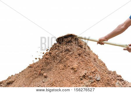 Shovel loader in hand,Shovel loader equipment for construction site,Concept business for team isolated on white(Clipping path)