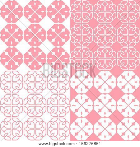 Set of 4 pink and white patterns. Seamless repeat backgrounds with stylized linear lotus flowers in groups of four. Vector seamless repeat.