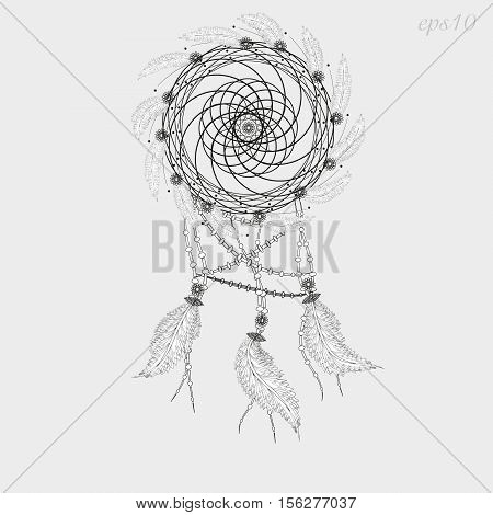 Dreamcatcher tattoo graphics Decoration ritual magic feather woven twigs author dot handmade folk art flowers line circle eps10 vector illustration Stock