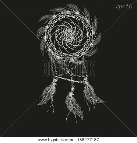 Dreamcatcher white drawing Abstraction decoration ritual magic feather woven twigs author dot handmade folk art flowers line circle eps10 vector illustration Stock