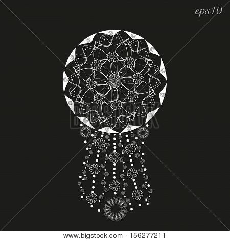 Ethnic ornament decoration white  White abstract design author handmade pendant flower circle dot tattoo on henna body painting line triangle eps10 vector illustration Stock
