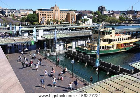 Sydney Ferries At Circular Quay Ferry Wharf In Sydney Australia