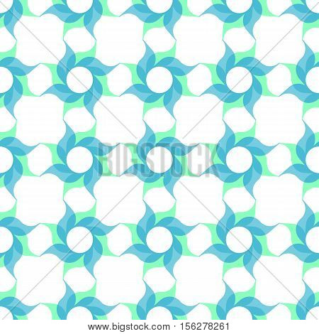 Trellis pattern of semitransparent light blue twirled flowers on white background. Vector seamless repeat.
