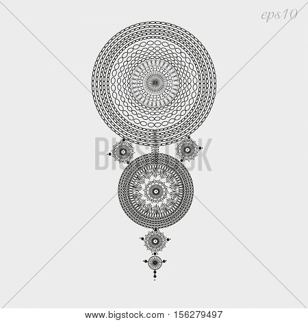 Round ornament openwork The decoration on the body painting henna tattoo author handmade folk art design pattern geometry chain point symmetry black background gray eps10 illustration stock vector