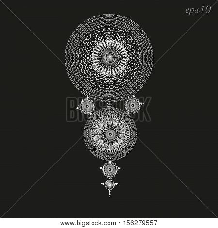 White circle ornament openwork Abstract decoration on the body painting henna tattoo author handmade folk art design pattern geometry chain point  symmetry black background eps10 illustration stock vector