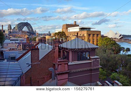 Aerial Urban Landscape View Of The Rocks In Sydney Australia