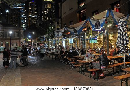 Visitors At The Rocks At Nigh In Sydney Australia