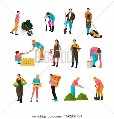 Set of garden people activities with different special equipment. Digging, picking, harvesting, mowing, watering, trimming. Horticulture, agriculture. Vector illustration in flat design