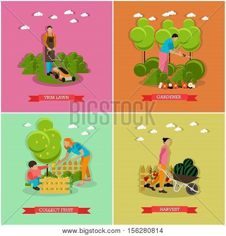 Vector set of gardening agriculture horticulture. Mowing lawn, trimming hedges, picking fruits, gather harvest. Flat design
