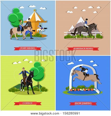 Vector set of horse theme. Pony riding in amusement park, horseback riding, horse show jumping and cowboy on horseback with lasso. Flat design