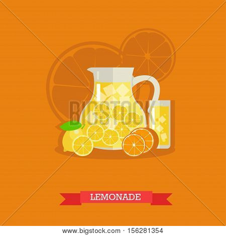 Vector illustration of jug with lemonade and ice. Glass full of lemonade and fresh lemons and oranges next to it. Popular citrus soft drink. Flat design