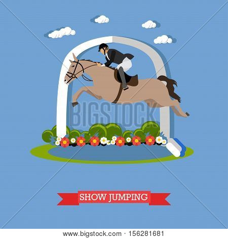 Vector illustration in flat design, the jockey in a special suit, accomplishes high jump on a horse. Equestrian sport, showing skills.