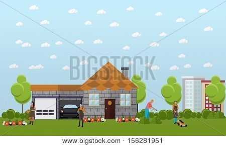 Big vacation home with green garden and garage for two cars space. Gardeners care for the garden, mowing the lawn, watering the flowers, trimming hedge. Vector banner in flat design