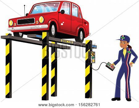 An image of a female mechanic and an old car on a hydraulic ramp.