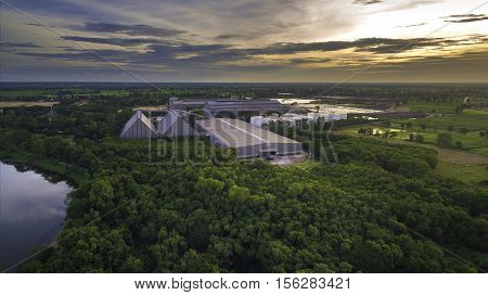 Aerial view of industrial zone thailand .