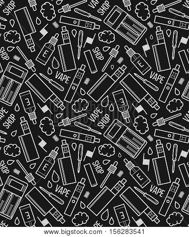 Vector seamless pattern of vape and accessories. Isolated on black background. Endless background electronic cigarette. Icons pattern for vape shop e-cigarette store