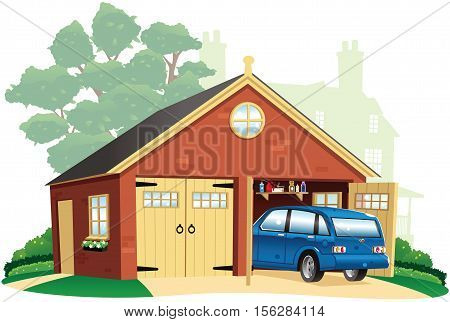 A typical double garage with a parked car in the driveway.