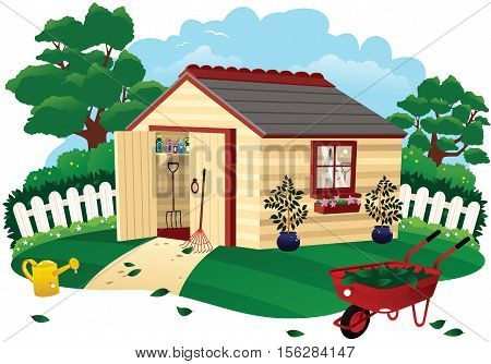 An illustration of a typical garden shed.
