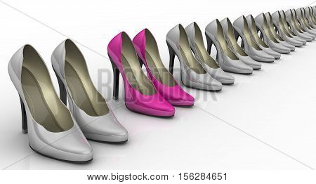Women's high heeled shoes standing in a row. Pink women's shoes with high heels standing in a row among gray shoes on a white surface. 3D Illustration. Isolated