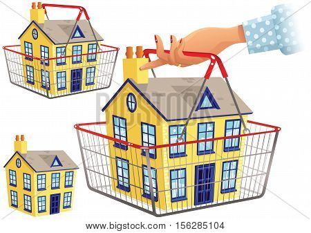 Three illustrations of a house being carried in a wire shopping basket.
