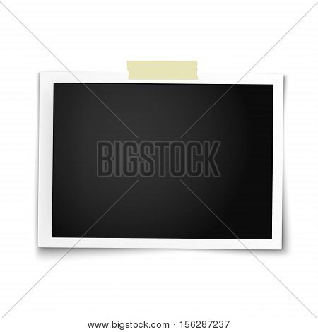Realistic vector photo frame in horizontal position with straight edges on sticky tape placed on white background. Template photo design.