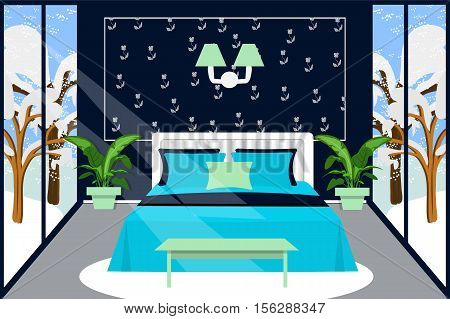 Bedroom interior vector illustration. Winter interior, bedroom in dark blue and mint color. Cartoon