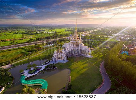 Aerial View Wat None Kum In Nakhon Ratchasima Province Thailand.