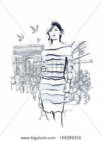 Woman walking at the Champs-Elysees avenue in Paris - Vector illustration