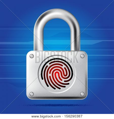 Fingerprint lock access icon. Finger print padlock. Security concept icon. Vector illustration