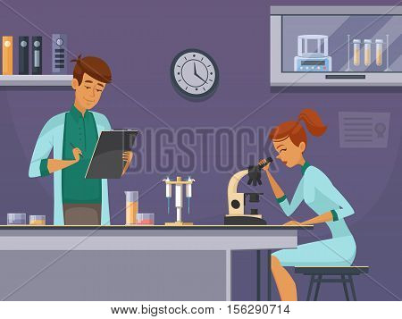 Two young scientists in chemistry lab making microscope slides and taking notes retro cartoon poster vector illustration