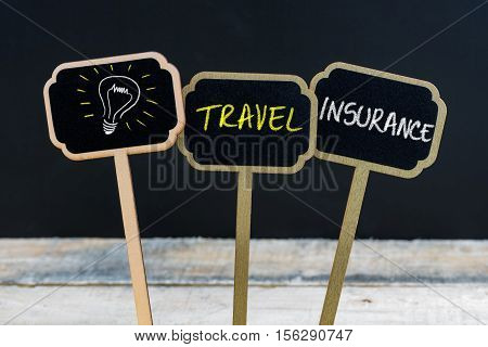 Concept Message Travel Insurance And Light Bulb As Symbol For Idea