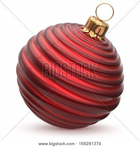Christmas ball red New Year's Eve decoration striped bauble wintertime hanging adornment waved stylish souvenir. Traditional ornament happy winter holidays Merry Xmas symbol closeup. 3d illustration