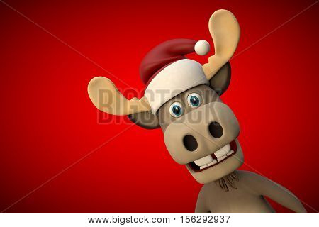 Cute moose with christmas hat cartoon animal zoo forest 3d illustration